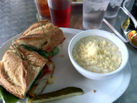 Highland Bakery - ham and cheese w Grits