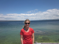 Kristin overlooking Lake Yellowstone & Cone